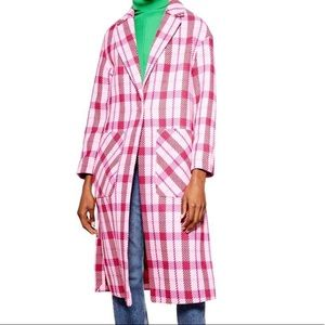 Topshop Check Long Coat